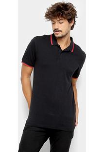 Camisa Polo Forum Frisos Clássica Masculina - Masculino-Preto f4913fe51fb60
