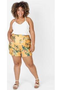 Bermuda Feminina Recortes Estampada - Feminino