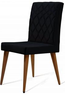Cadeira Ouros Preta Base Castanho - 50480 - Sun House