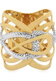 Anel Ouro Amarelo Ouro Branco E Diamantes