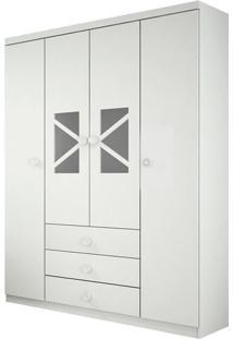 Armário Arco Iris C/ 4 Portas,3 Gavetas E 1 Cabideiro, Padrao - Branco / Branco