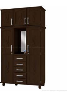 Guarda-Roupa Duplex Com Espelho 5 Portas E 5 Gavetas Capelinha Em Madeira Maciça Tabaco - Kitimar Móveis