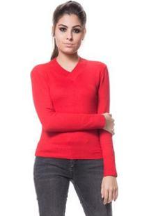 Blusa Logan Tricot Básica Linha E Lycra - Feminino-Vermelho