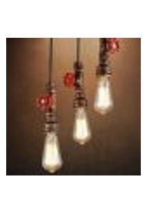 Luminária Pendente Teto Decorativa Cano Metal Cor Vermelho