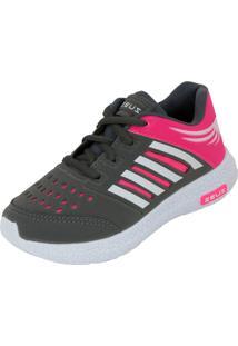 Tênis Esportivo Zeus Mx Branco Grafite Pink