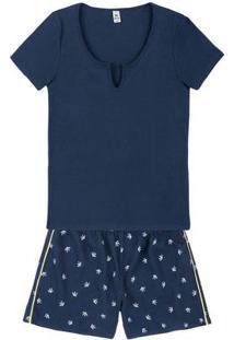 Pijama Em Algodão Com Blusa Em Ribana