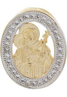 Pingente Narcizza Semijoias Oval De São José Cravejado Com Micro Zircônia Cristal Ouro - Kanui