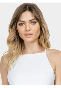 Blusa Com Alças Pérolas Tecido Branco Off White - Lez A Lez