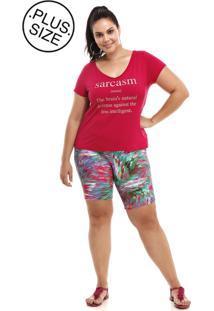 Blusa Plus Size Decote V Silk Pink