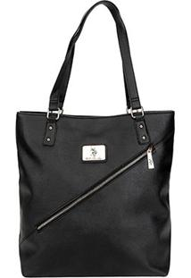 Bolsa U.S. Polo Assn Shopper Placa Zíper Diagonal Feminina - Feminino-Preto