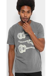 Camiseta Redley Gola Careca Guitar Estonada Masculina - Masculino