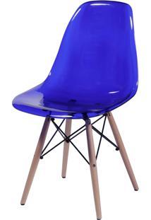 Cadeira Dkr Policarbonato E Base De Madeira Malawi – Azul