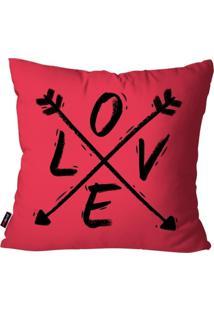 Capa De Almofada Pump Up Decorativa Avulsa Pink Flechas Love 45X45Cm