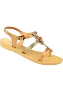 Sandália Grendha Preciosidade Feminino - Feminino-Dourado