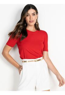 Blusa Feminina Vermelha Com Manga Bufante