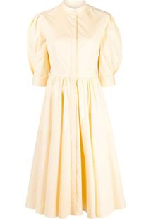 Alexander Mcqueen Vestido Midi Evasê Com Detalhe De Laço - Amarelo