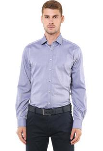 Camisa Dudalina Slim Padronagem Azul