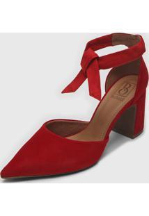 Scarpin Bebec㪠Amarraã§Ã£O Vermelho - Vermelho - Feminino - Dafiti