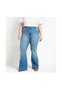 Calça Jeans Boot Com Pregas Nos Bolsos Curve E Plus Size Azul
