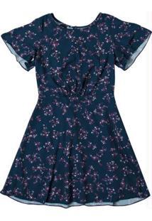 Vestido Azul Evasê Floral