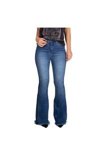 Calça Jeans Guess High Flare Barra Desfiada