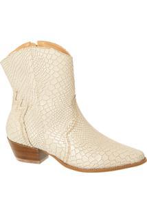Ankle Boot Off White Em Couro Texturizado Salto Médio