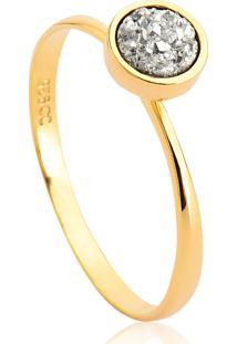 Anel De Prata 925 Dourado Com Drusa Coleção Gem