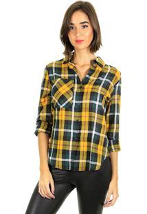 Camisa Xadrez Manga Longa Com Bolso Frontal E Abotoamento Com Vista