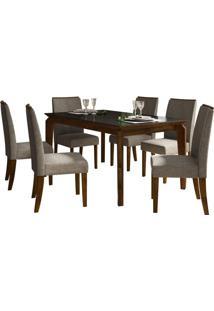 Sala De Jantar Rouge Com 6 Cadeiras Rústico Malbec/Vidro Preto
