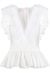 Giamba Peplum Fitted Blouse - Branco
