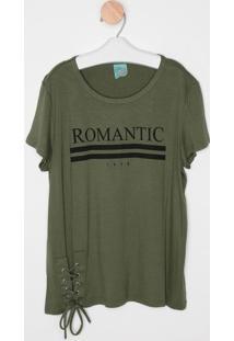 """Blusa """"Romantic"""" Com Amarração- Verde Militar & Preta"""