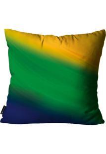 Capa Para Almofada Mdecore Abstrata Brasil Colorida 45X45Cm