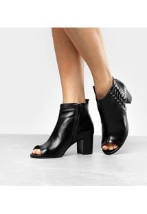 Ankle Boot Couro Shoestock Salto Grosso Tiras - Feminino