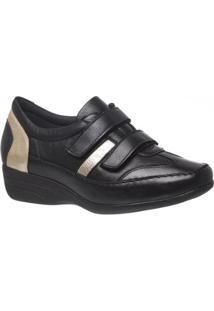 Sapato Anabela Em Couro Doctor Shoes Feminino - Feminino-Preto