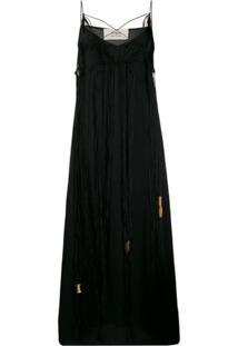 Ports 1961 Fringed Sleeveless Maxi Dress - Preto