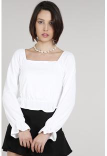 Blusa Feminina Cropped Com Babado Manga Longa Decote Reto Off White