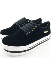 Tênis Quality Shoes Feminino 007 Camurça Preto Sola Branca Com Detalhe 37