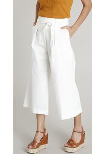 6c32d0d786 Calça Pantacourt Feminina Em Linho Com Faixa Para Amarrar Off White