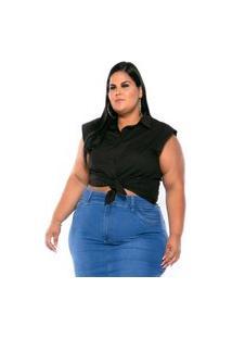 Camisa Regata Tricoline Stretch Feminina Preta Plus Size Xp Ao G5 3222 Multicolorido