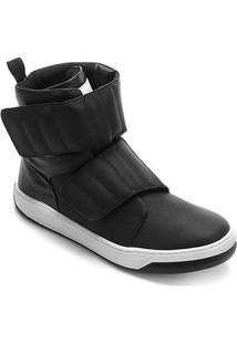 Tênis Couro Cano Alto Hardcorefootwear Velcro Blaqueado Feminino - Feminino-Preto