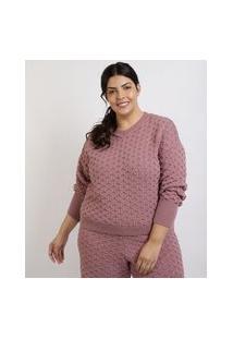 Suéter Feminino Mindset Plus Size Em Tricô Trabalhado Decote V Lilás