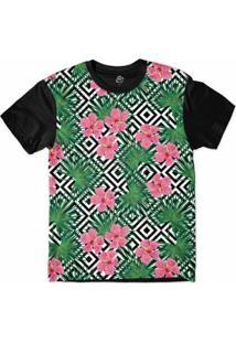 Camiseta Bsc Padrões E Listras Flores E Folhas Sublimada Masculina - Masculino-Branco+Preto