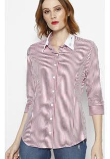 Camisa Listrada Com Botãµes- Off White & Vermelhadbz Jeans