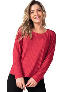 Blusa Básica Feminina Canelada Rovitex Vermelho - P