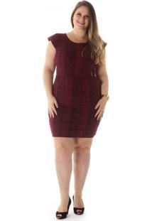 Vestido Plus Size - Confidencial Extra Animal Print Com Elastano Vinho