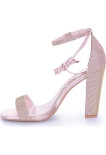 Sandália Salto Alto L'Atelier Glitter Rosa