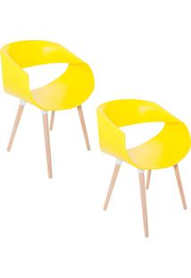 Kit 02 Cadeiras Petra Encosto Curvo Sala De Jantar Amarela Pés Madeira - Facthus