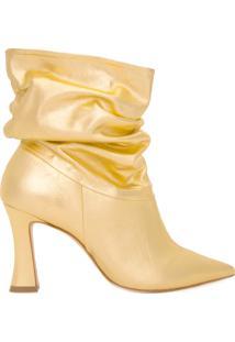 Bota Feminina Cano Amassado - Dourado