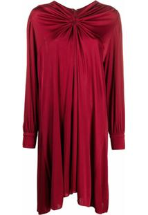 Isabel Marant Vestido Mangas Longas Com Detalhe Franzido - Vermelho