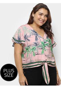 Blusa Heli Tropical Plus Size Amarração Manga Curta Feminina - Feminino-Rosa Claro